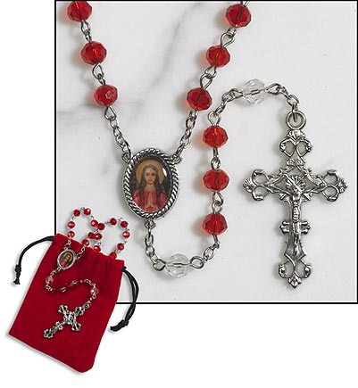 St. Philomena Rosary in red pouch