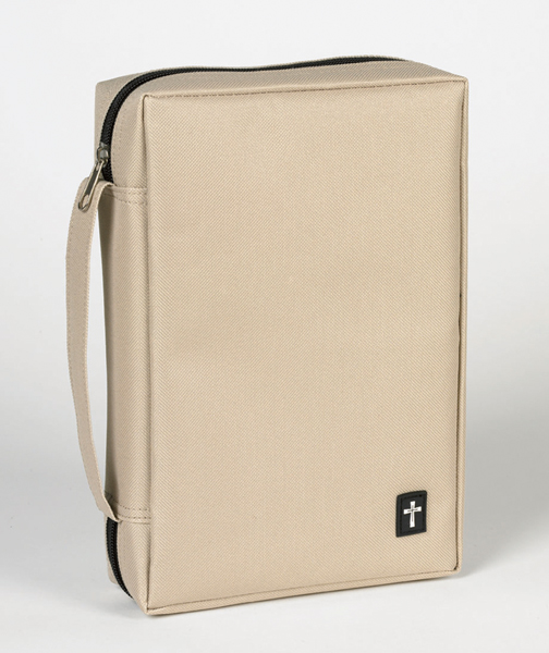 Taupe Bible Covers with Cross Tag