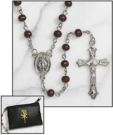 Brown Wood Rosary with Black Zipper Case