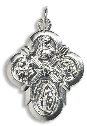 100 pk Four Way Devotional Medal and Pendant