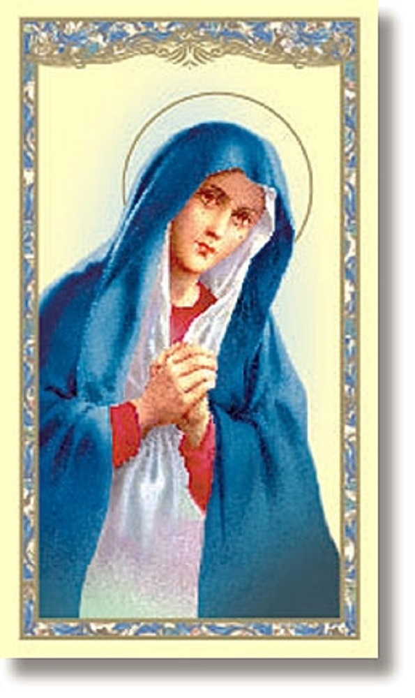 Blessed Virgin Pro Life Paper holy card