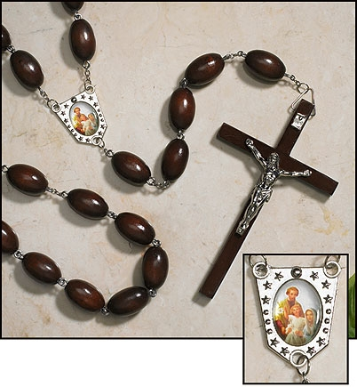 Family Wall Rosary, Brown wood