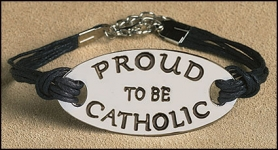 Proud to be Catholic Leather Bracelet