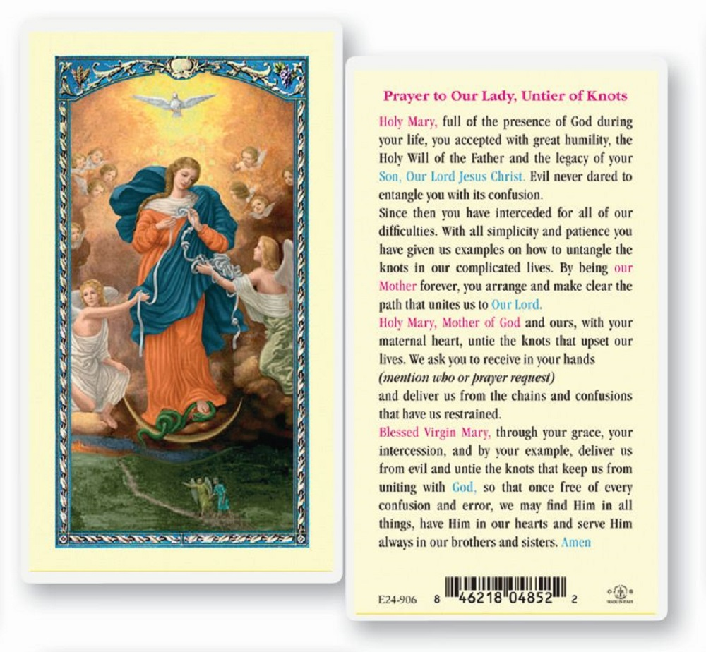 Our Lady Untier of Knots Laminated Holy card