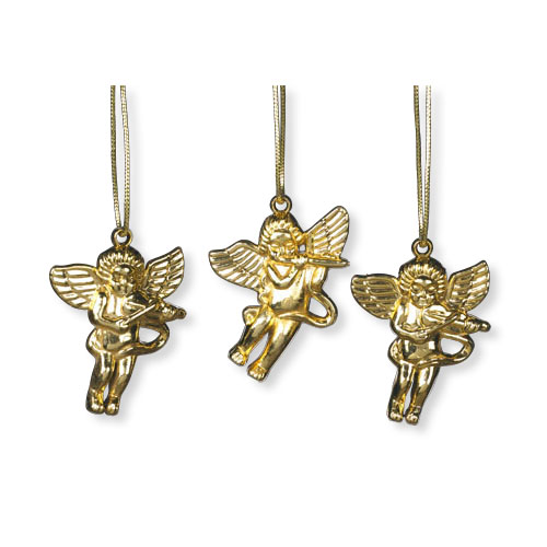 Set of three musical angel ornaments