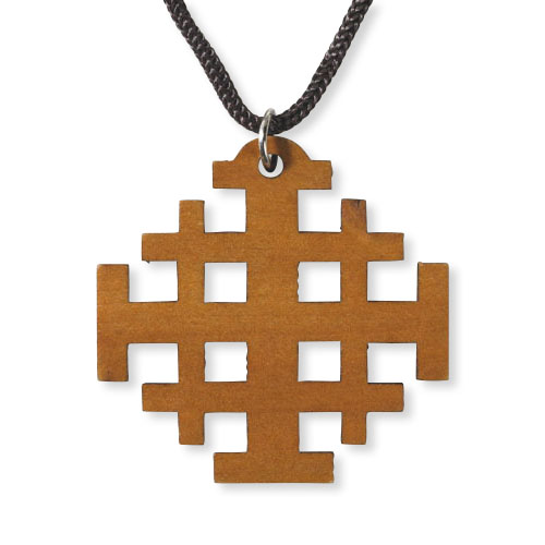 Wood Cut Out Jerusalem Cross Pendant - Limit one per order!