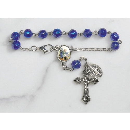 St. Michael Faceted Glass Auto Rosary