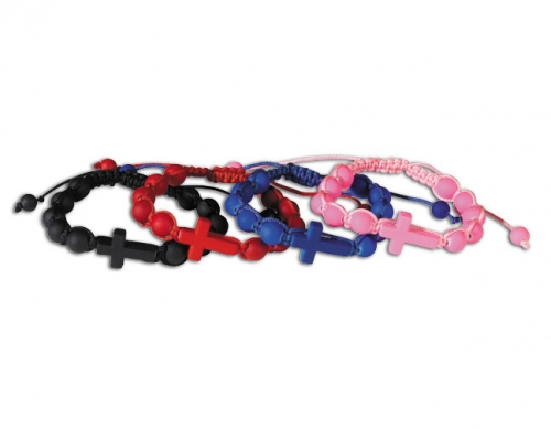 Cross Rosary Bracelet Choice of four colors
