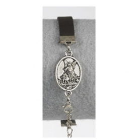 Guardian Angel Medallion Leather Bracelet