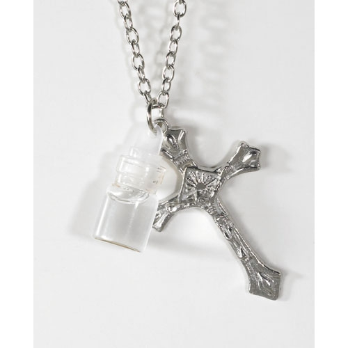Holy Water Bottle with Crucifix Pendant