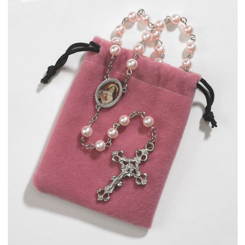 St. Therese rosary in free velvet pouch