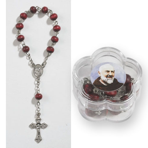St. Pio One Decade Rose Scented Rosary with Case