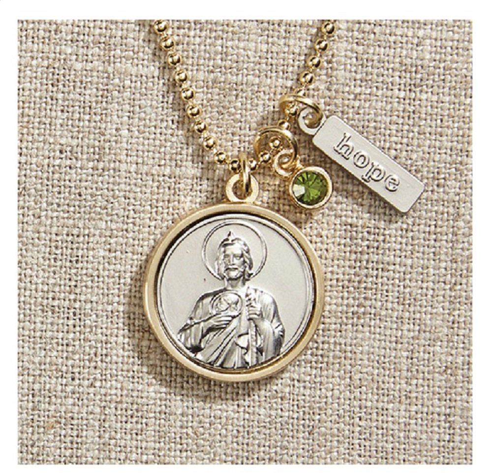 Vintage Blessings St. Jude Necklace W/ Gold Chain