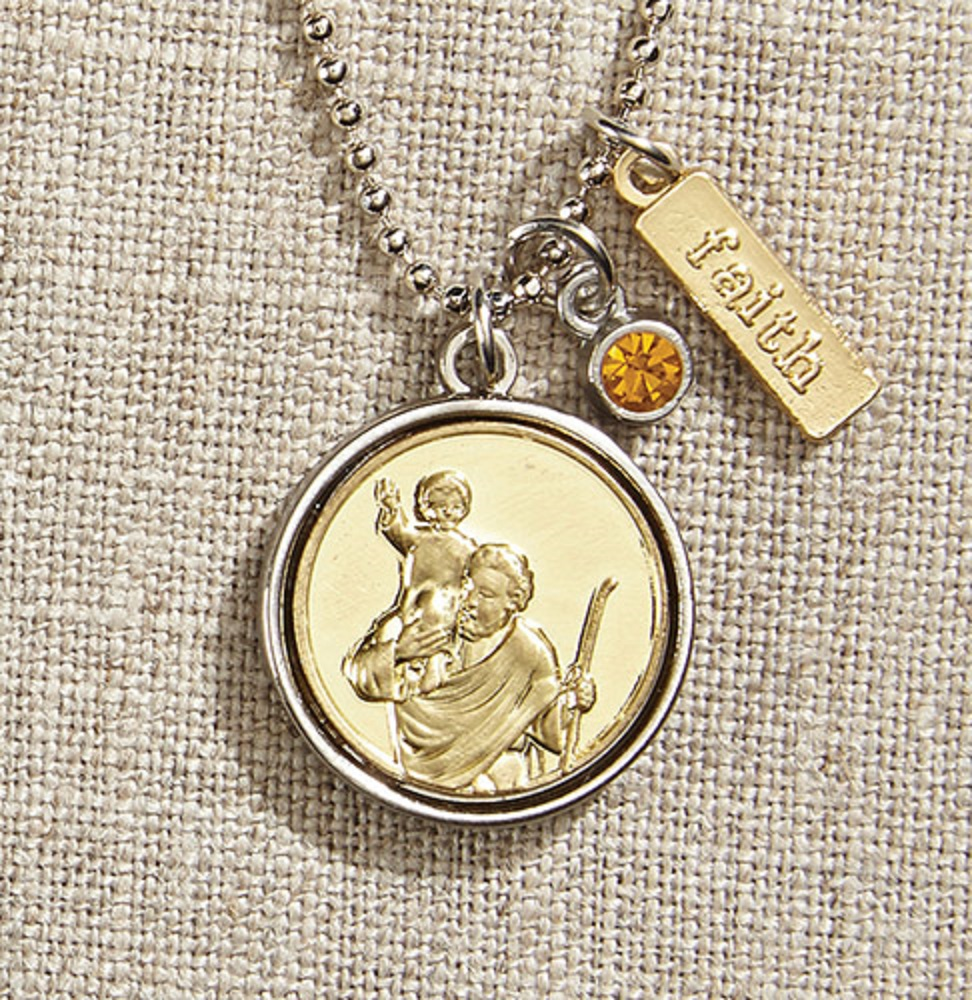 St. Christopher Decorative Medal on Chain in Gift Bag