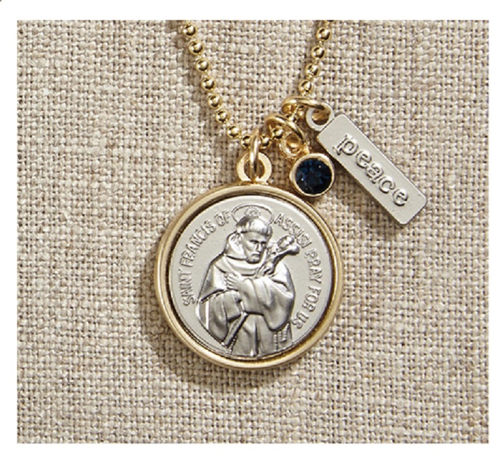 Vintage Blessings St. Francis Necklace W/ Gold Chain
