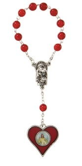 Red Divine Mercy Single Decade Rosary