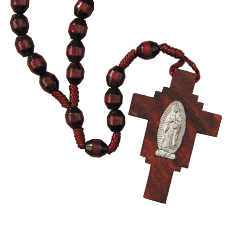Our Lady of Guadalupe Wood Cord Rosary 12 pack