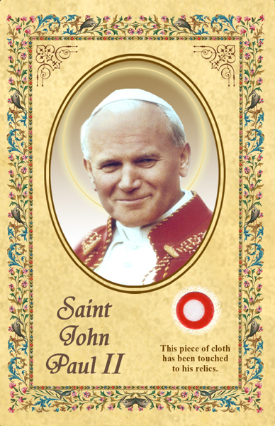 Saint John Paul II Relic Holy Card
