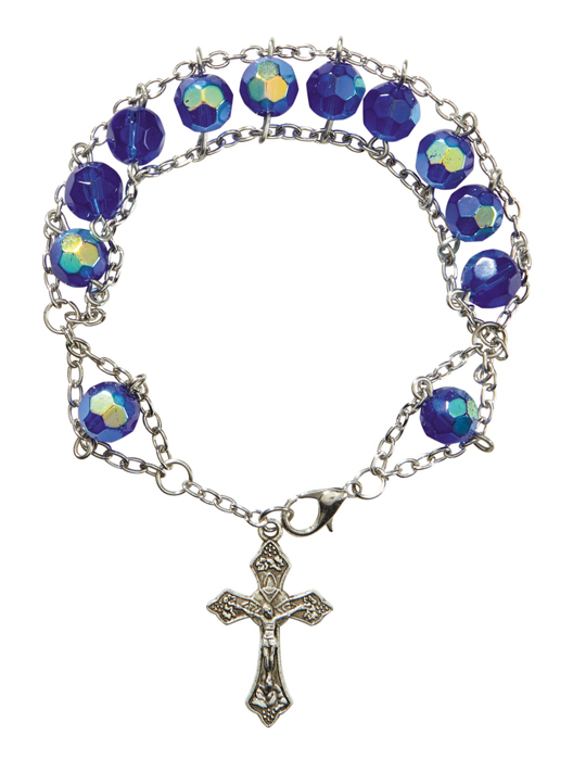 Sapphire Faceted Glass Ladder Rosary Bracelet