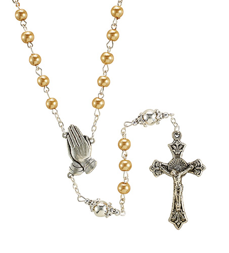Serenity Rosary with Gold Beads