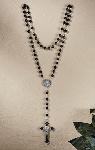 Black Wood St. Benedict Wall Rosary