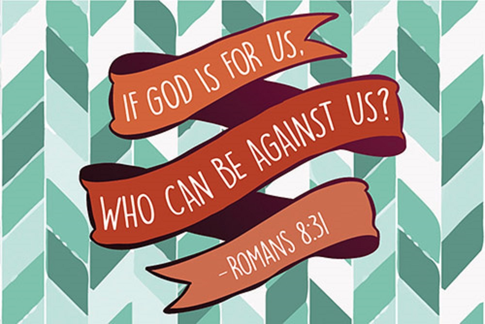 Pass It On - God is For Us Bible verse card