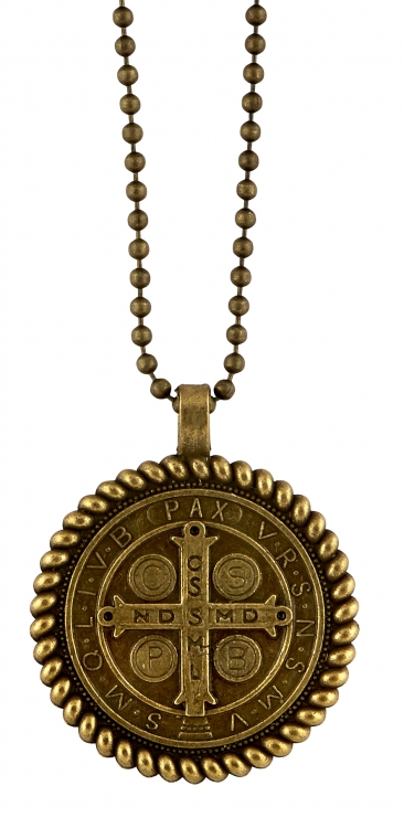 St. Benedict Antique Gold Rope Border Pendant
