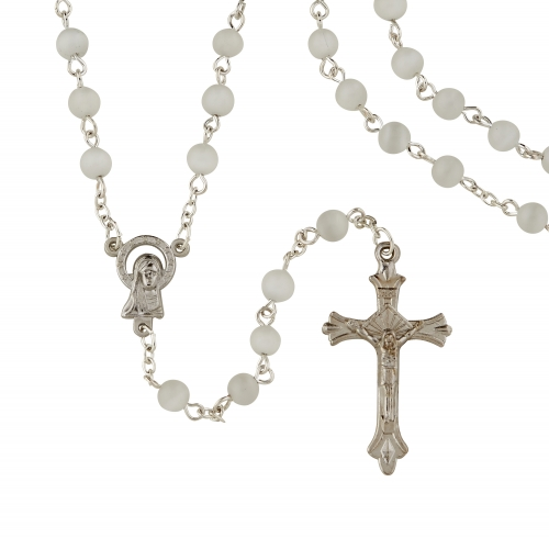 White Cat Eye Rosary