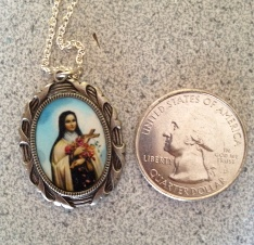 Large Silver Tone Engraved St. Therese Pendant