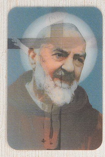 St. Padre Pio with Crucifixion holographic holy card