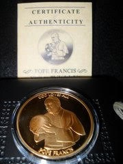 Pope Francis Commemorative Medallion Merlingold Brass Coin