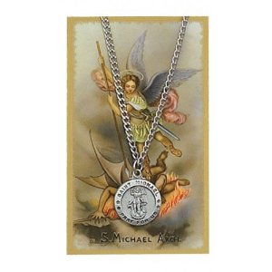 St. Michael Laser Cut medal on chain with holy card