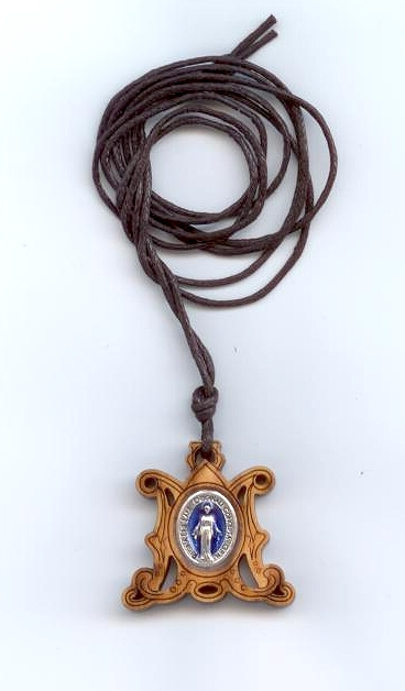 Unusual Laser Cut Wood Miraculous Medal on cord