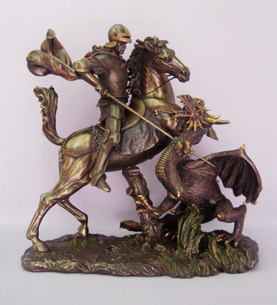 Large Bronze St. George statue on base