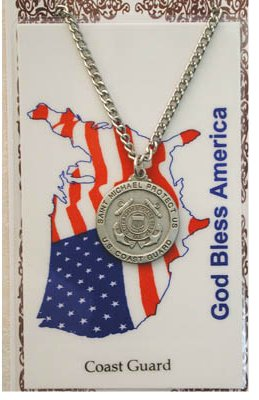 Service Prayer card medal set, Coast Guard