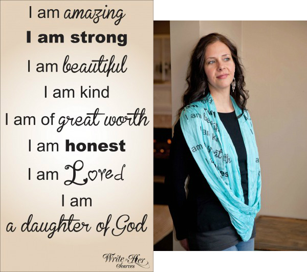 I Am Amazing Quote Scarf in deep rust
