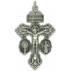 3-Way Pardon Indulgence Crucifix with St. Benedict and Miraculous Medals - 2-1/8 inch