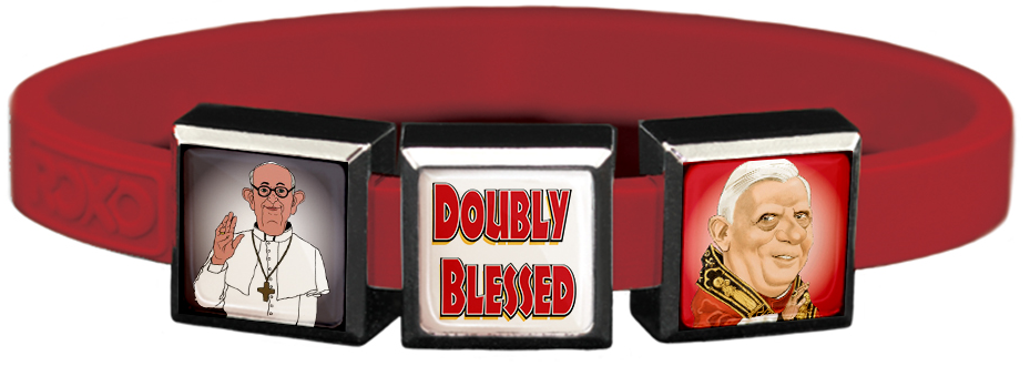 Doubly Blessed 2 Popes Charms Wristband
