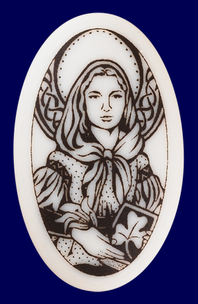Beautiful St. Dymphna Porcelain Pendant