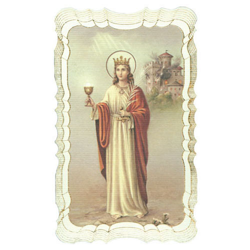 St Barbara Gold Embossed Holy Card