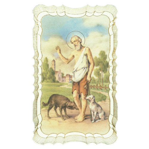 St Lazarus Gold Embossed Holy Card