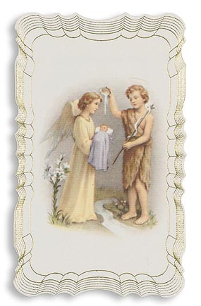 Baptismal Gold Embossed Holy Card