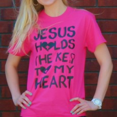 Jesus Holds the key to my heart pink shirt