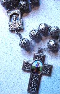 Large Silvertone Filigree Rosary