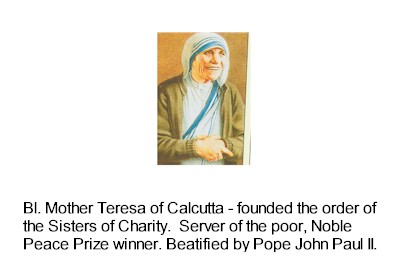 Laminated Holy Card, Bl Mother Teresa