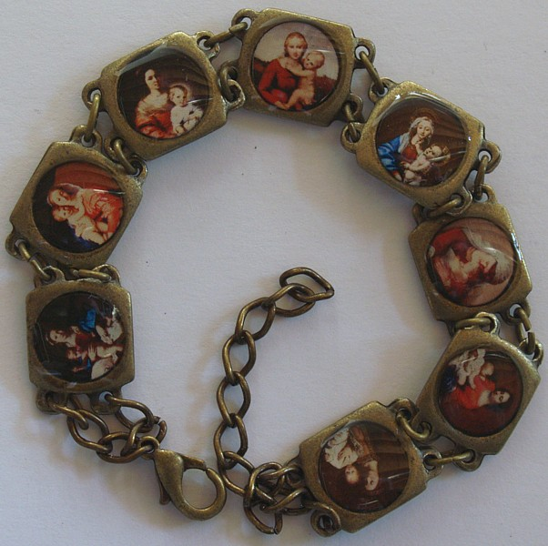 Antiqued Blessed Virgin Medals Image bracelet, antiqued gold.