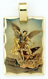 14K gold layered photo charms, Michael the Archangel