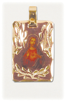 Gold Engraved Sacred Heart of Jesus Pendant