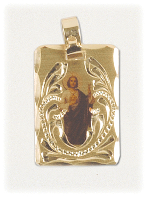 Decoratively Engraved Gold Penant of St. Jude