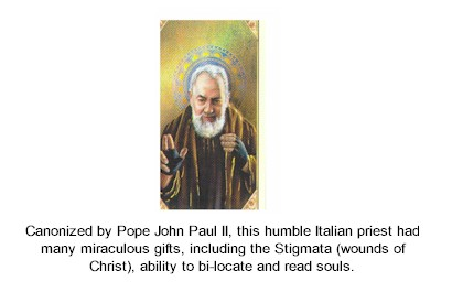 St. Padre Pio laminated holy card